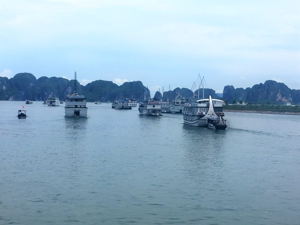 Halong Bay Cruise, junk boat, armada, set sail