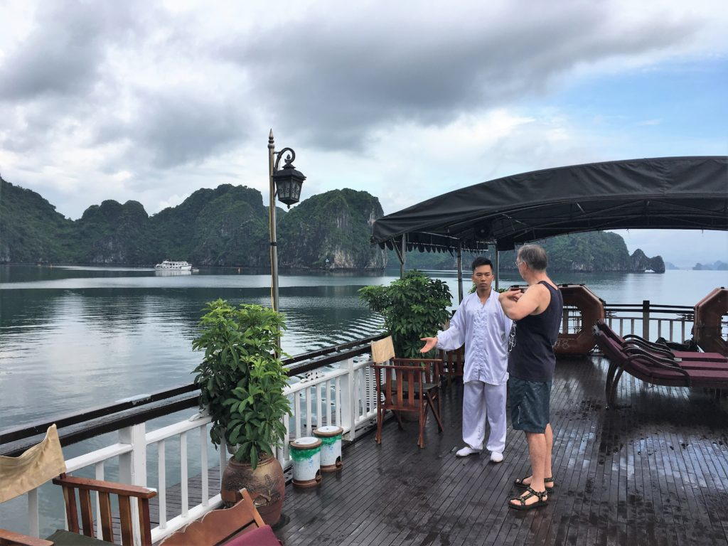 halong bay cruise, ha long bay, tai chi, vietnam