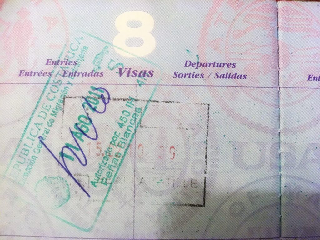 passport, void, stamp, exit stamp, costa rica