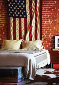 american flag; flag; dorm room; travel guide
