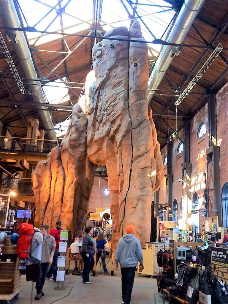 what to do in denver; rei; flagship store; rock wall; climbing wall