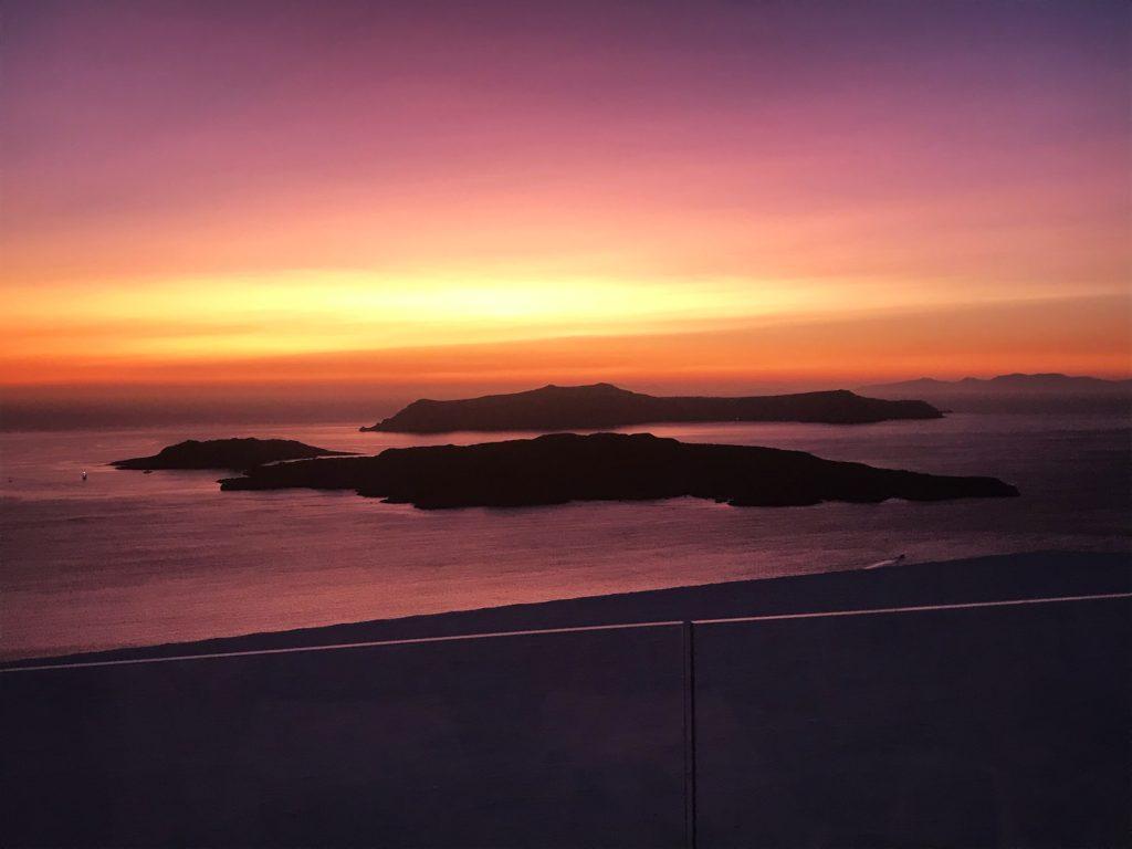 santorini sunset; santo winery; santorini; greece sunset; santo winery sunset; santorini restaurant; greek isles; greek island